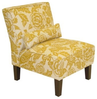 Canary Print Slipper Chair, Yellow eclectic chairs