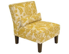 Canary Print Slipper Chair, Yellow eclectic-chairs