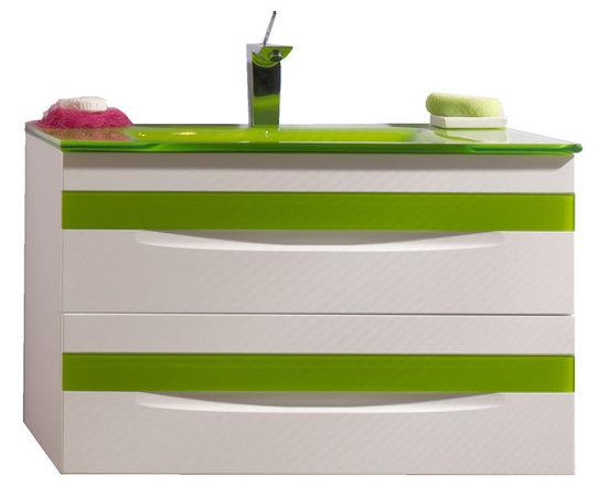 "Macral Giocco 32"" vanity bathroom. White-green. - Made in Spain."