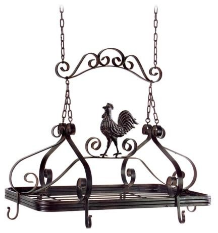 Rooster Hanging Kitchen Pot Rack traditional pot racks
