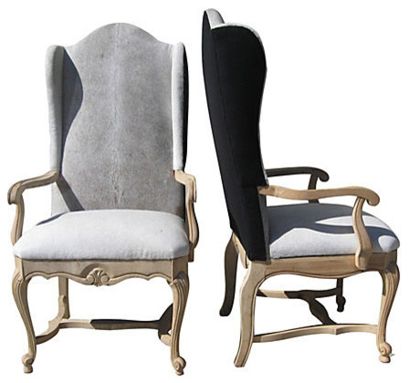 Consigned Cowhide Wingback Chairs Pair Eclectic Dining