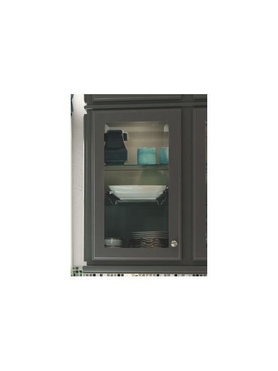 Aegean Contrasting Back - Infuse your kitchen with subtle color when you add a contrasting back, shown here in Cadet, to glass-front cabinets.