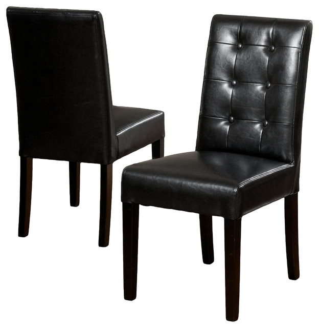 Gillian black leather dining chair set of 2 modern for Black leather dining chairs