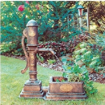 Classical Vintage Pump Planter Fountain - Modern - Outdoor Fountains And Ponds - by Wayfair