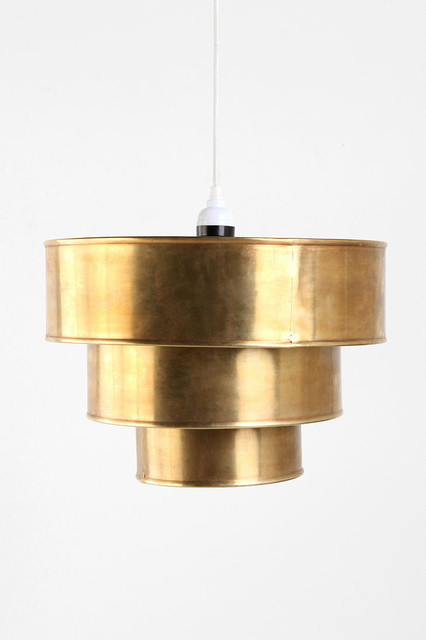 Brass tiered pendant shade contemporary pendant for Brass kitchen light fixtures