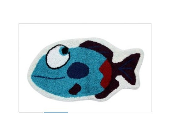 Blue Fish - 40 x 75 cm Bath Mat or Children Rug - Colourful cheerful and well-designed 100% cotton hand tufted rugs from Homescapes have been created especially for children rooms but can also be used in other rooms including bathroom. These are good quality tufted rugs and not be confused with the usual synthetic printed rugs, yet they are very economically priced