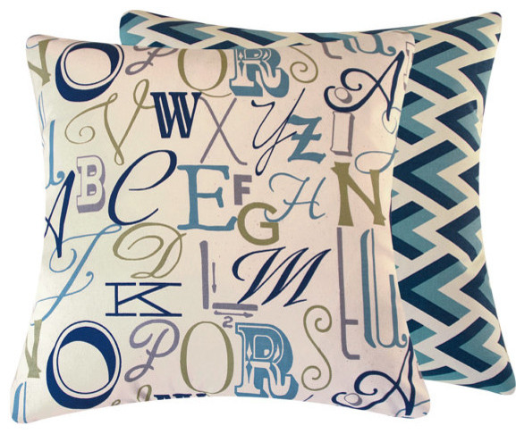 Alphabet Soup Decorative Throw Pillow l Chloe and Olive contemporary-decorative-pillows
