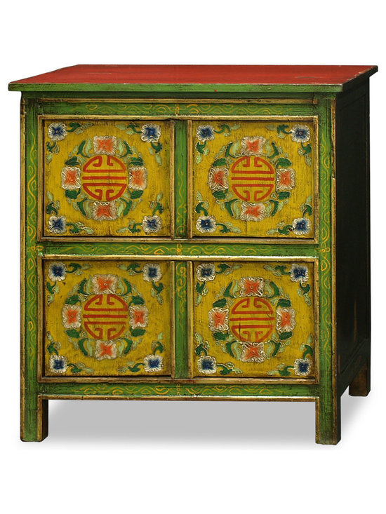 """China Furniture and Arts - Hand-Painted Tibetan Chest - Adopted from Tibetan Art, this cabinet is uniquely hand painted with a vibrant floral motif design and long life symbols on the front. Ample storage is provided by two double door compartments each measuring 25"""" W x 12""""D x 14.5""""H. Perfect for the foyer, living room, and bedroom. Fully assembled."""
