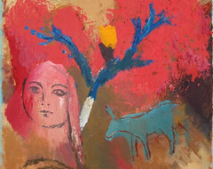 """""""Mule Deer and Pink Lady"""" Artwork contemporary-originals-and-limited-editions"""