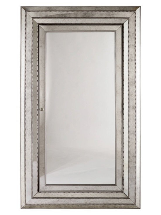 """Hooker Furniture - Melange Glamour Floor Mirror - White glove, in-home delivery included!  A glamorous statement piece, this mirror attaches to the wall for stability, and the interior contains two shelves, ring storage and pouches with Velcro and hooks for necklaces.  Mirror door opens to reveal a felt-lined interior with 42 pouches and 20 hooks.  Inside Door: 33 5/8"""" w x 3"""" d x 67 1/2"""" h  Door extension at 90 degrees: 36 3/4""""  Mirror Glass: 28"""" w x 72"""" h  Plastic Pockets: 3"""" w x 3"""" h"""