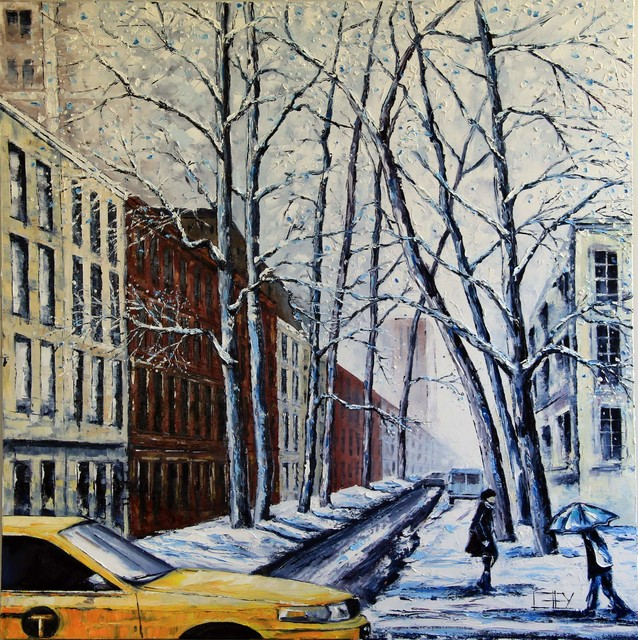 Commission project large painting of New York's upper east side modern-artwork