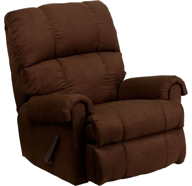 Contemporary Flatsuede Chocolate Microfiber Rocker