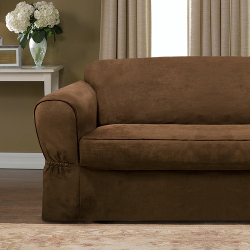 Piped Faux Suede Separate Seat Loveseat Slipcover modern-living-room-chairs