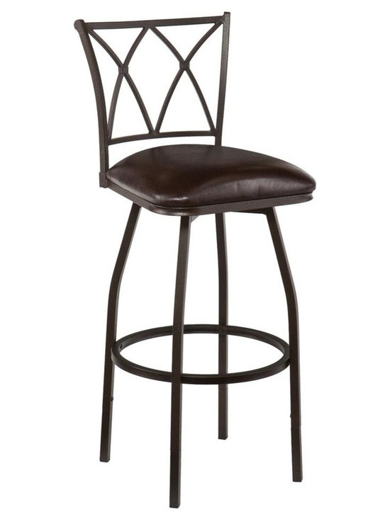 Southern Enterprises - Kensington Adjustable Counter Bar Stool - Raise the bar in convenient seating! This adjustable stool is the perfect option for fashionable bar or counter seating. Optional leg extensions adapt this versatile stool from counter to bar height in minutes. Sloped lines and X cast design create a clean, simple look. A powder-coated, hammered bronze finish and sturdy steel construction offer timeless beauty. The seat features a plush foam cushion covered in rich dark brown vinyl; a full 360 degree swivel and convenient footrest ring add to the comfort. The sleek design and hammered bronze finish make this a great addition for traditional to modern homes. Perfect for the kitchen, breakfast nook, bar, or dining area.
