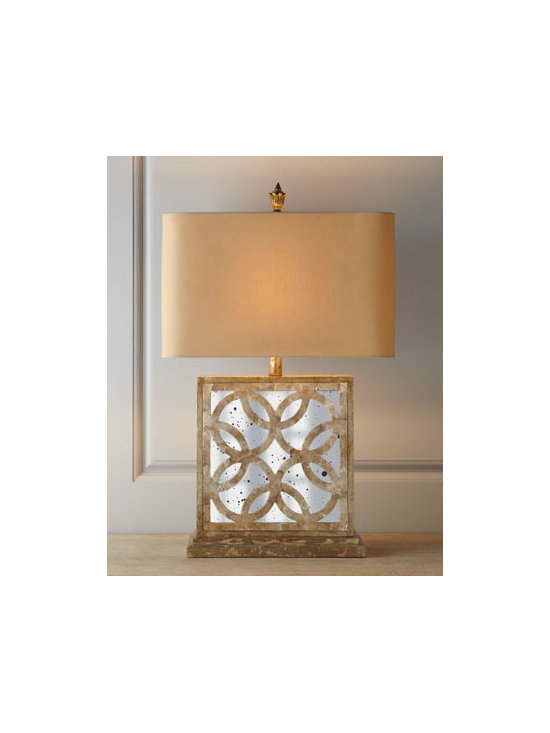 Horchow - Montecito Mirrored Table Lamp - Eclectic lamp is equally comfortable with traditional and transitional decor and brings opulent splendor to room lighting. Made from wood composite with a multi-layered finish, aged mirror insets, laser-cut circle-patterned overlays, and golden capiz s...