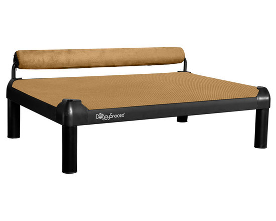 DoggySnooze - snoozeSleeper, Anodized Frame, Memory Foam Long, 1 Bolster Tan - It's a dog's life for pooches who get to snooze on this contemporary dog bed. Elevated for comfort with a sturdy bolster for support, this bed comes in a selection of colors to complement your home or office decor. Made in the USA and available in three sizes, with optional black anodized frame, long legs and memory foam.