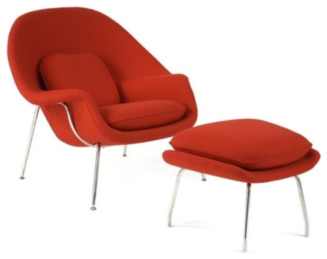 Eero Saarinen Style Womb Chair and Ottoman, Red contemporary-outdoor-chaise-lounges