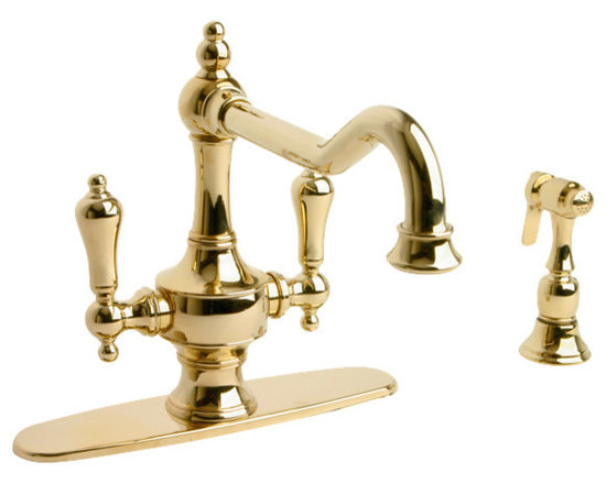Giagni Isonzo IK101 Two Handle Kitchen Faucet with Side Spray - The Isonzo faucet is a beautifully sculpted timeless piece that will instantly bring a sense of tradition int o any kitchen. Use with the side spray included to maximize function. Available in a variety of finishes to compliment any decor.