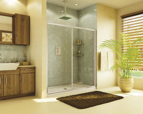 "Fleurco Banyo Amalfi In-Line 48 45""-47"" Frameless In-Line Sliding Door EAL2-48 - Deluxe anti-jump smooth rolling system"