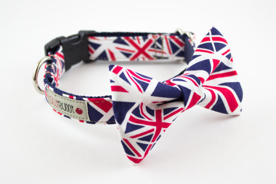 Union Jack Dog Bowtie Collar by Silly Buddy eclectic pet accessories