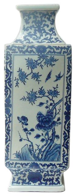 Chinese Blue Amp White Porcelain Square Tall Scenery Vase