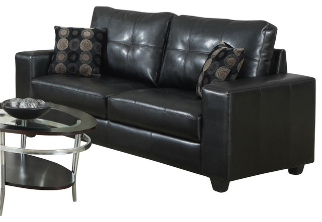 Accent Pillows For Black Leather Sofa : Monarch Specialties 8993BK Sofa with 2 Accent Pillows in Black Leather - Traditional - Sofas ...