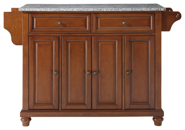 Cambridge Solid Granite Top Kitchen Island in Classic Cherry Finish traditional-kitchen-islands-and-kitchen-carts