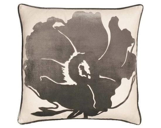 Matilija Poppy Grey Velvet Pillow -