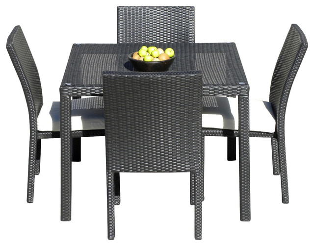 Outdoor Wicker New Resin 5 Piece Square Dining Table And