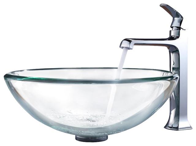 Kraus Clear 19mm Vessel Sink, Decorum Faucet modern-bathroom-sinks