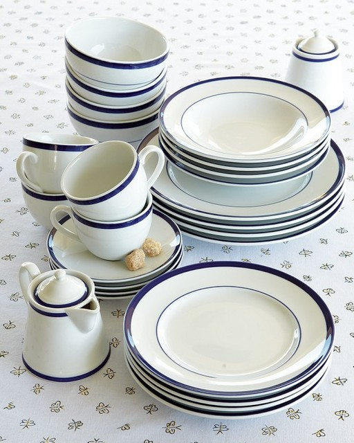 Brasserie Blue-Banded Porcelain 5-Piece Place Setting traditional-dinnerware-sets