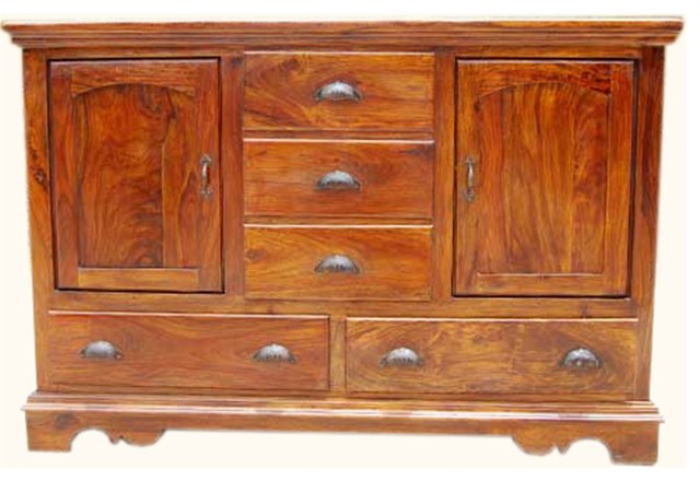 Rustic Solid Wood 5 Drawer Traditional Dining Room Buffet