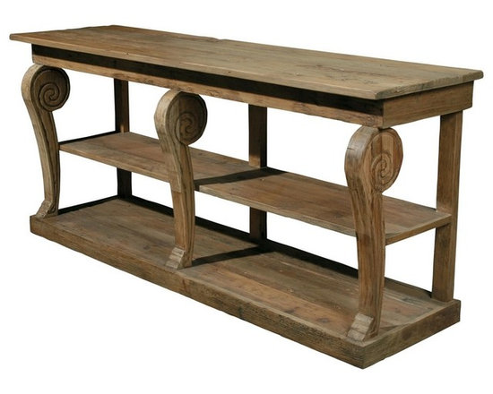 Natural Wood Console Turned Legs - he natural wood console table with turned legs has a distinct style of furniture that's one-of-a-kind and hand made from solid lumber with unique rustic characteristics including cracks, uneven boards, pitting, and rough surfaces. This interesting table is very elegant! You'll be amazed on how this unique piece can brighten up your room.
