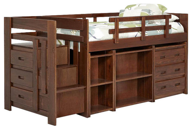 Chelsea Home Twin Mini Loft Bed with Storage in Dark traditional-kids-beds
