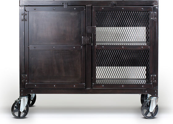 Rolling industrial kitchen cart, media cabinet - Traditional - Furniture - denver - by Real ...