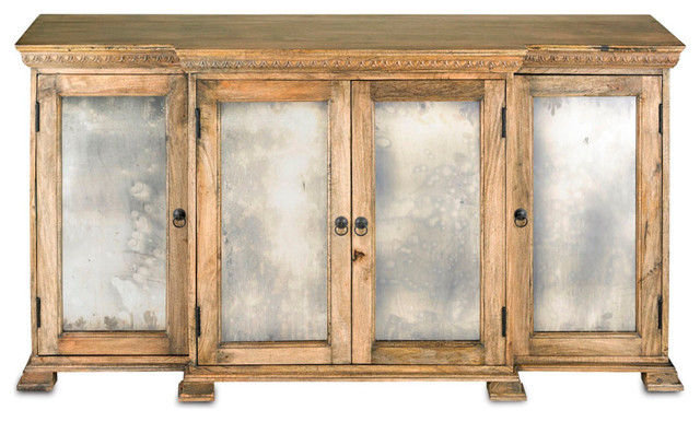 Ellis buffet natural wood with black patina and antique