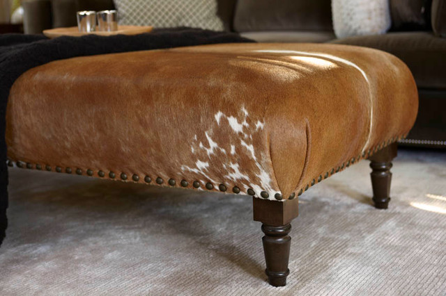 Cowhide Ottoman Custom Transitional Footstools And