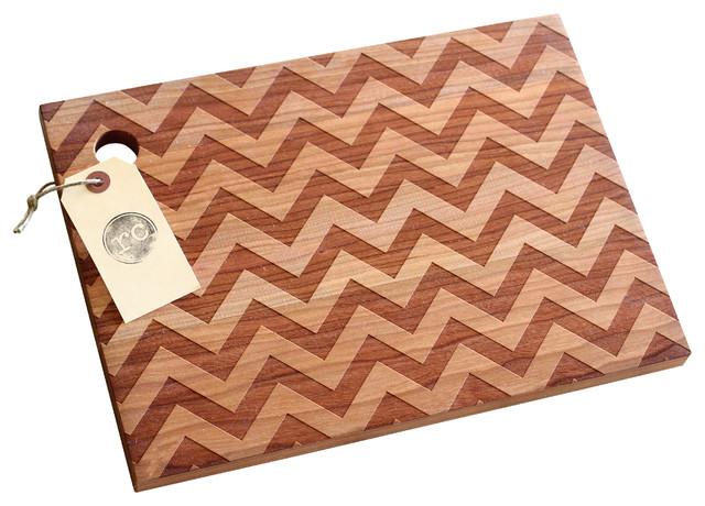 Solid Wood Chevron Pattern Design Cutting Board Cherry