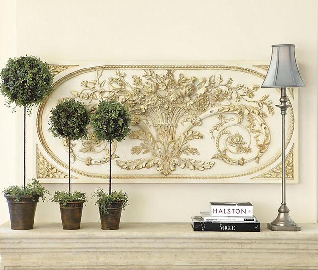 Grande Bouquet Plaque - Cream w Gold Accents traditional-artwork