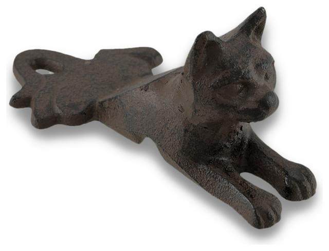 Rust finish cast iron cat door stop wedge rustic door stops by zeckos - Cast iron cat doorstop ...