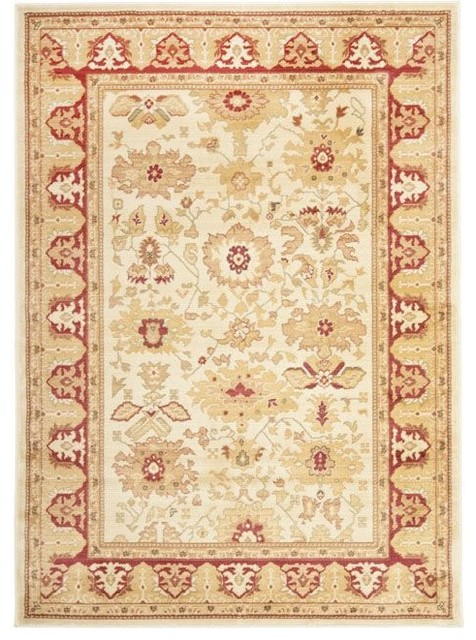 "Traditional Heirloom 4'x5'7"" Rectangle Creme - Red Area Rug traditional-rugs"