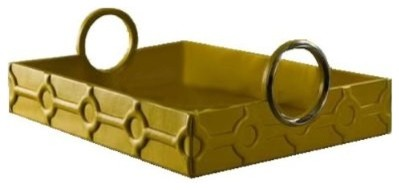 Large Mustard Colored Leather Trapunto Tray contemporary-serving-dishes-and-platters