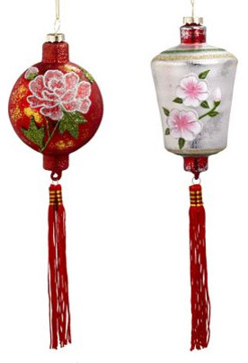 Chinese Lantern Ornament Set Asian Christmas Ornaments
