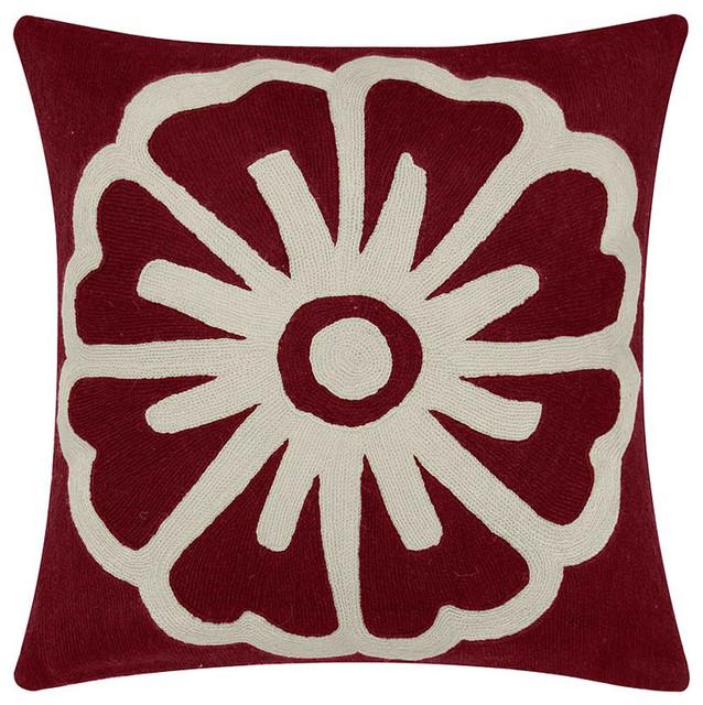 Judy Ross Textiles -Big Pinwheel 18x18 Chain Stitch Pillow M modern-decorative-pillows