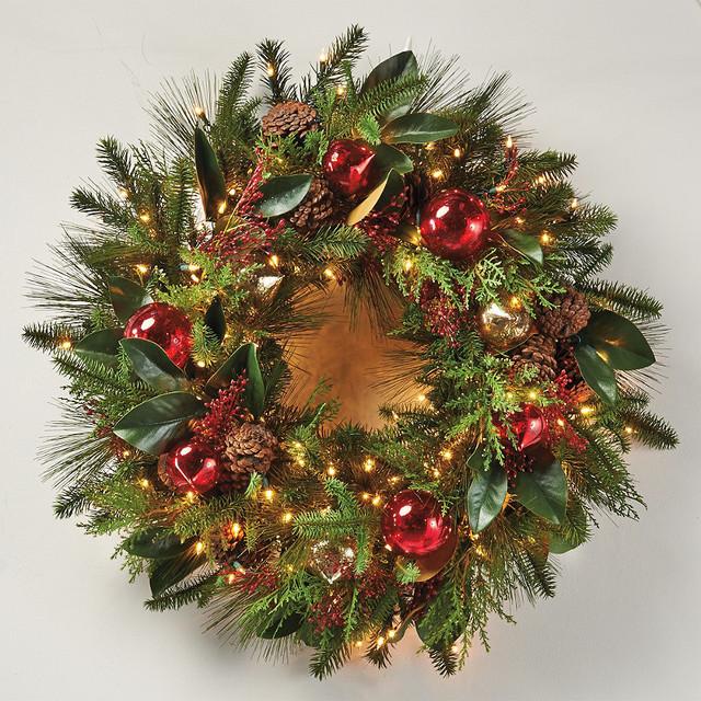 Florist 39 S Choice Decorated Christmas Wreath Cordless Led