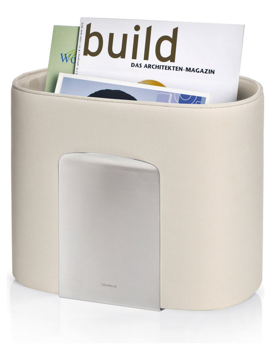 Spinta Magazine Organizer - The Spinta Magazine Oval Rack by Blomus is made with stainless steel and a colored fabric of your choice.