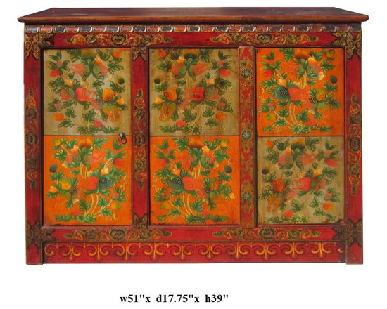 Chinese Tibetan Lotus Pomegranate Side Table Cabinet - This is a decorative accent table cabinet of Tibetan style graphic on the surface. It is colorful and graphical. The edge is the traditional pattern, the flower and pomegrante is drawn in Tibetan artistic style. One single door, and a pair of doors for easy accessories storage. Shelf is removable.