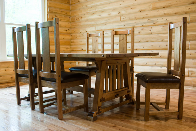 Rustic bungalow mission style dining table traditional dining room other metro by - Mission style dining room furniture ...