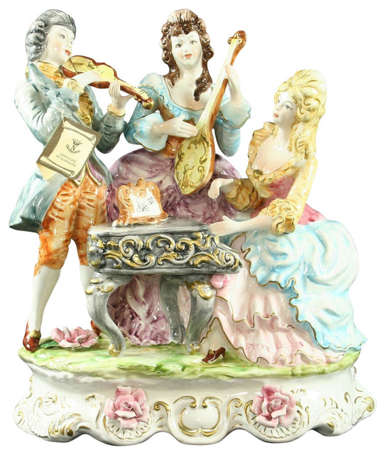 Large New Capodimonte Style Figure Trio of Musicians traditional-accessories-and-decor