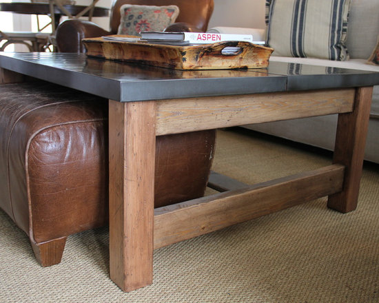 Coffee Table - Aged Pine Coffee table fastened with a Zinc top.    One side has a pullout drawer and the other side is designed to slide an ottoman underneath.   Not For Sale.